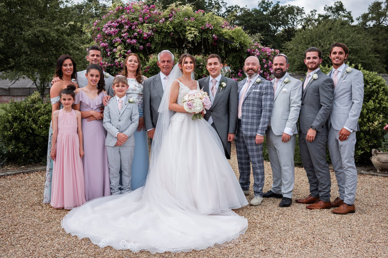 Traditional wedding photo with bride, groom and bridal party.