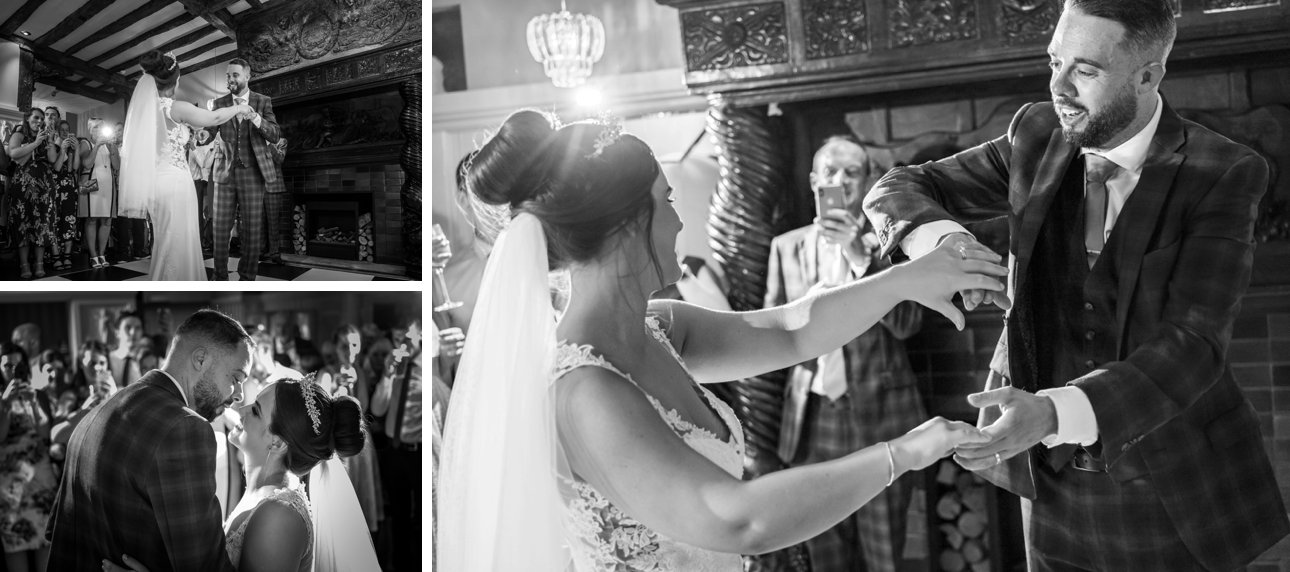 The bride and groom have their first dance: black and white photos.