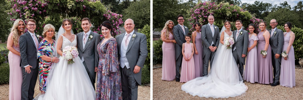 Traditional wedding photo with bride, groom and bridal party and another with a side of the family.