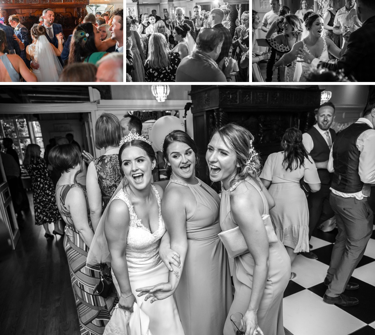 The dance floor at The Manor Elstree fills with guests and bridesmaids after the bride and groom's first dance.