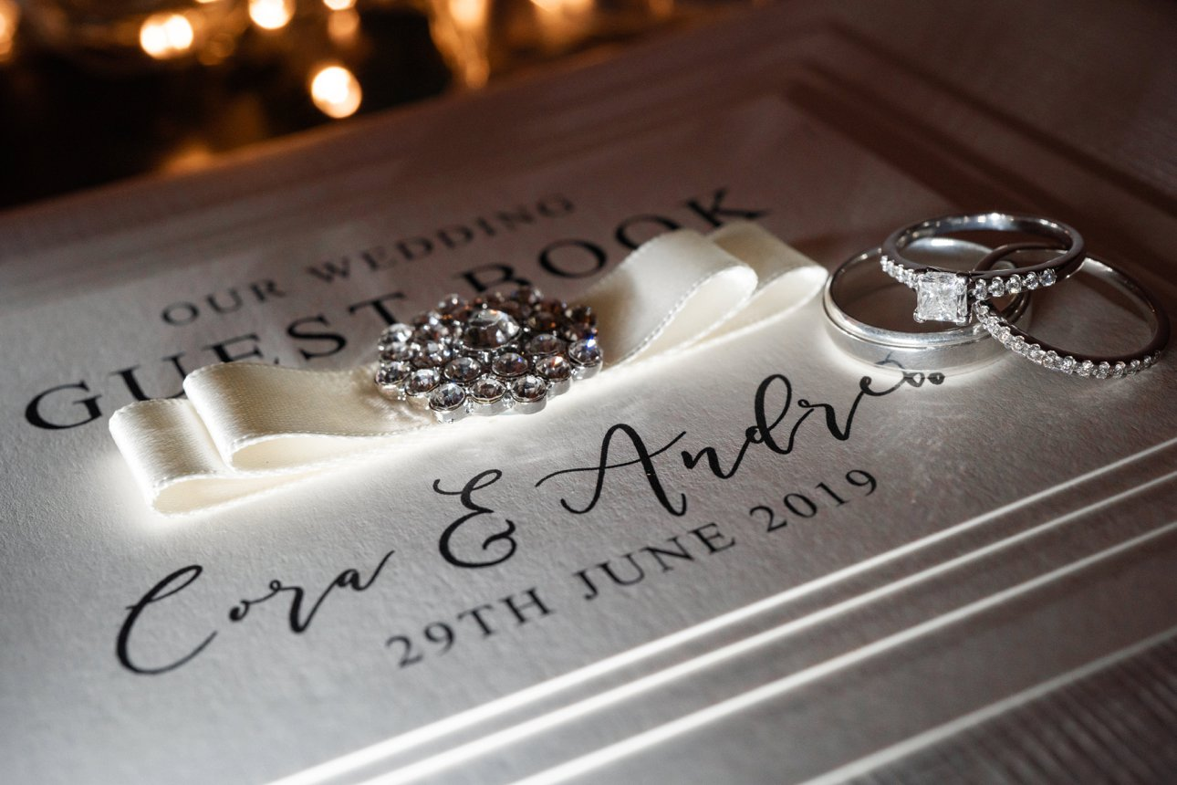A personalised guest book for bride and groom Cora and Andrew for their summer 2019 wedding in Hertfordshire.