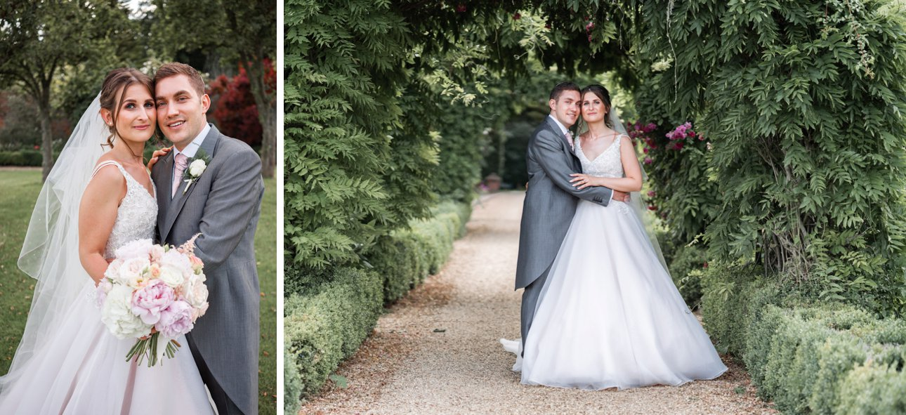 Bride and groom portraits in the grounds of wedding venue Stapleford Park.