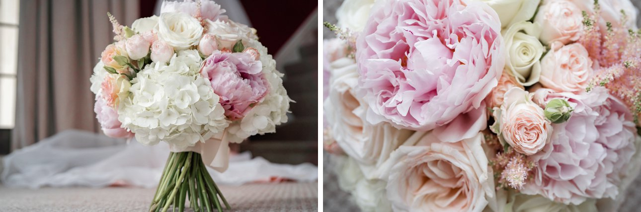 Pastel summer wedding bouquet with peonies and roses by Sophie's Flower Company based near Grantham in Leicestershire.