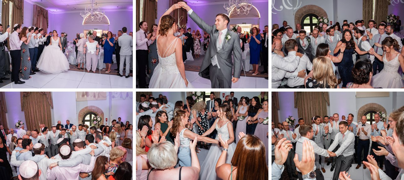 Traditional Jewish wedding dancing at Stapleford Park in Leicestershire.