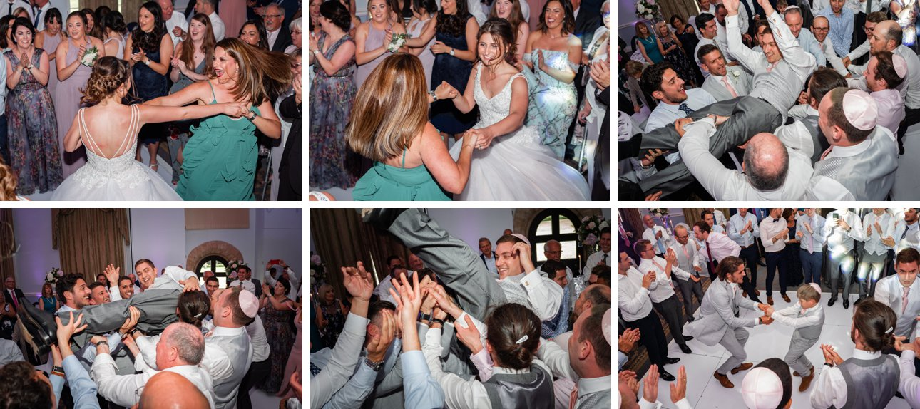 Traditional Jewish dancing at a Stapleford Park wedding.