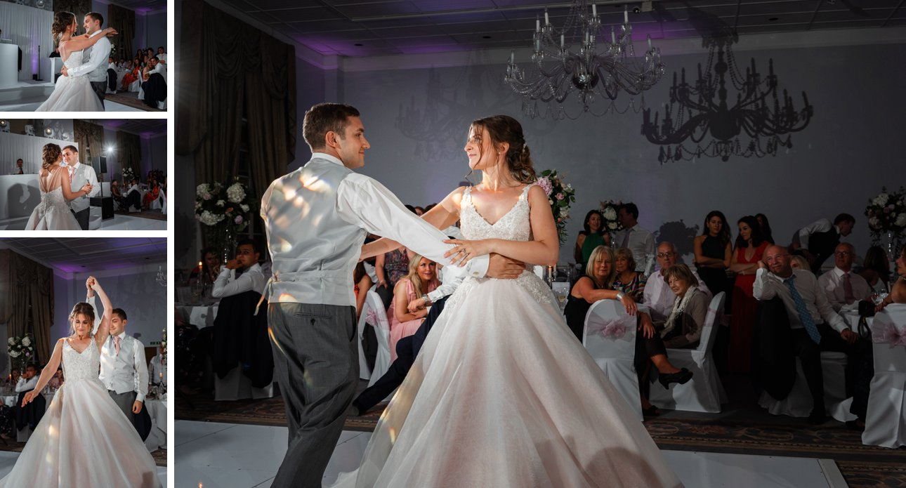 The newlywed's first dance at their Stapleford Park wedding.