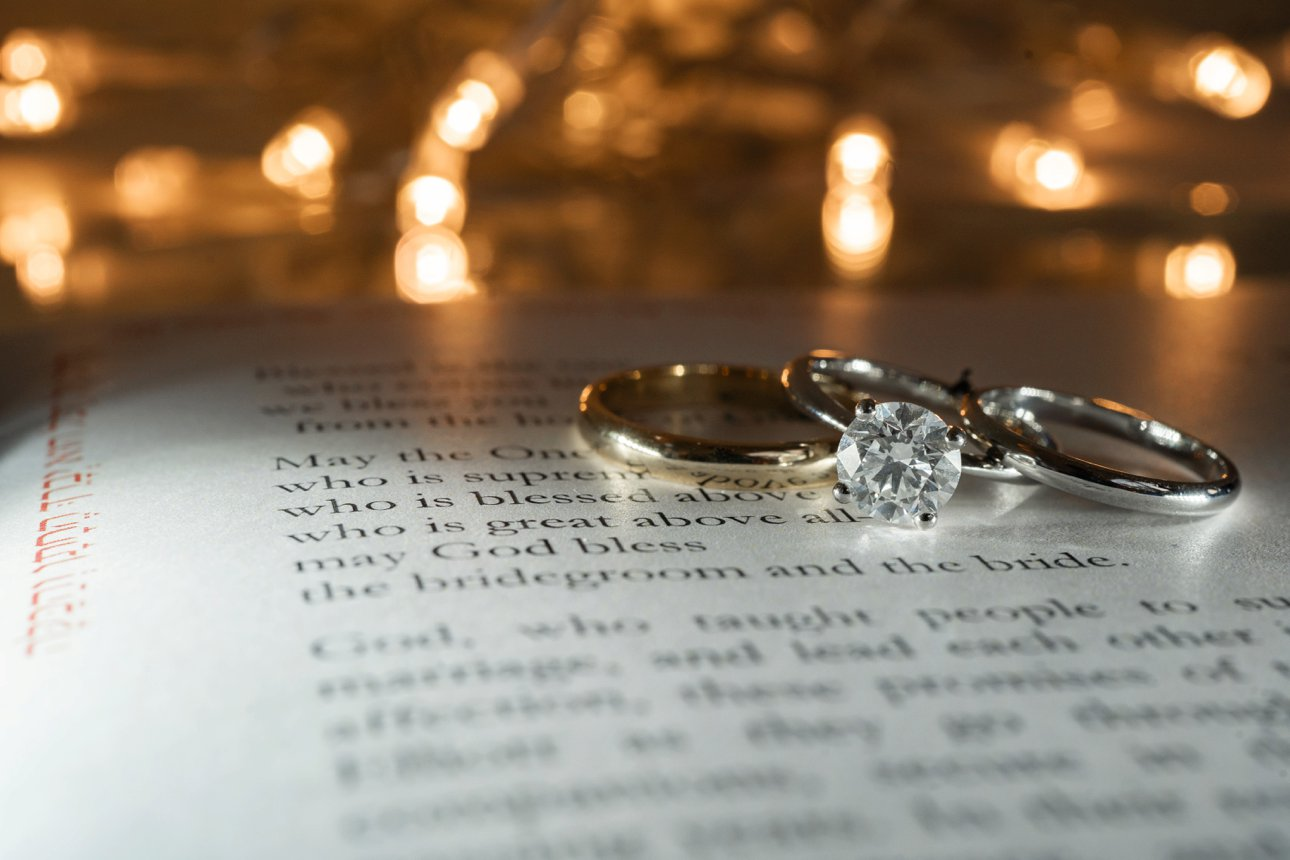 Rings and wedding text from the Stapleford Park wedding of Sonni and Elliott.