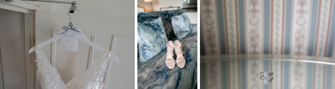 Wedding details including a bride's gown, shoes and ring at Stoke Place Slough, Buckinghamshire.