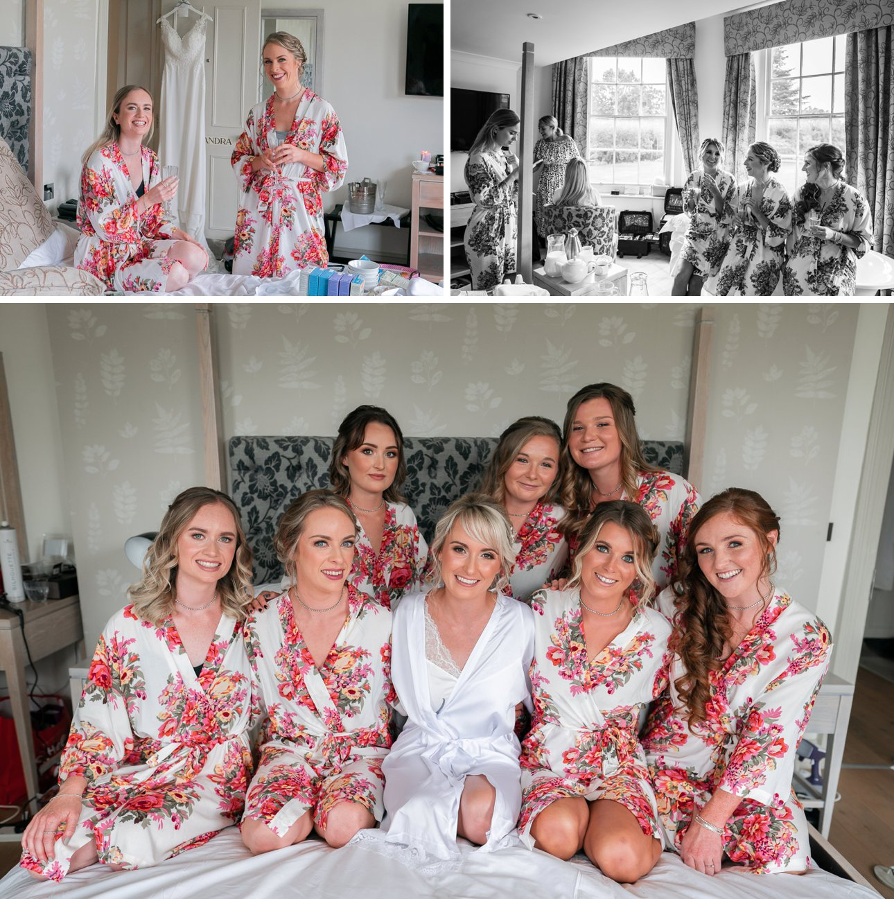 Bridesmaids getting ready in matching robes at Stoke Place Slough.