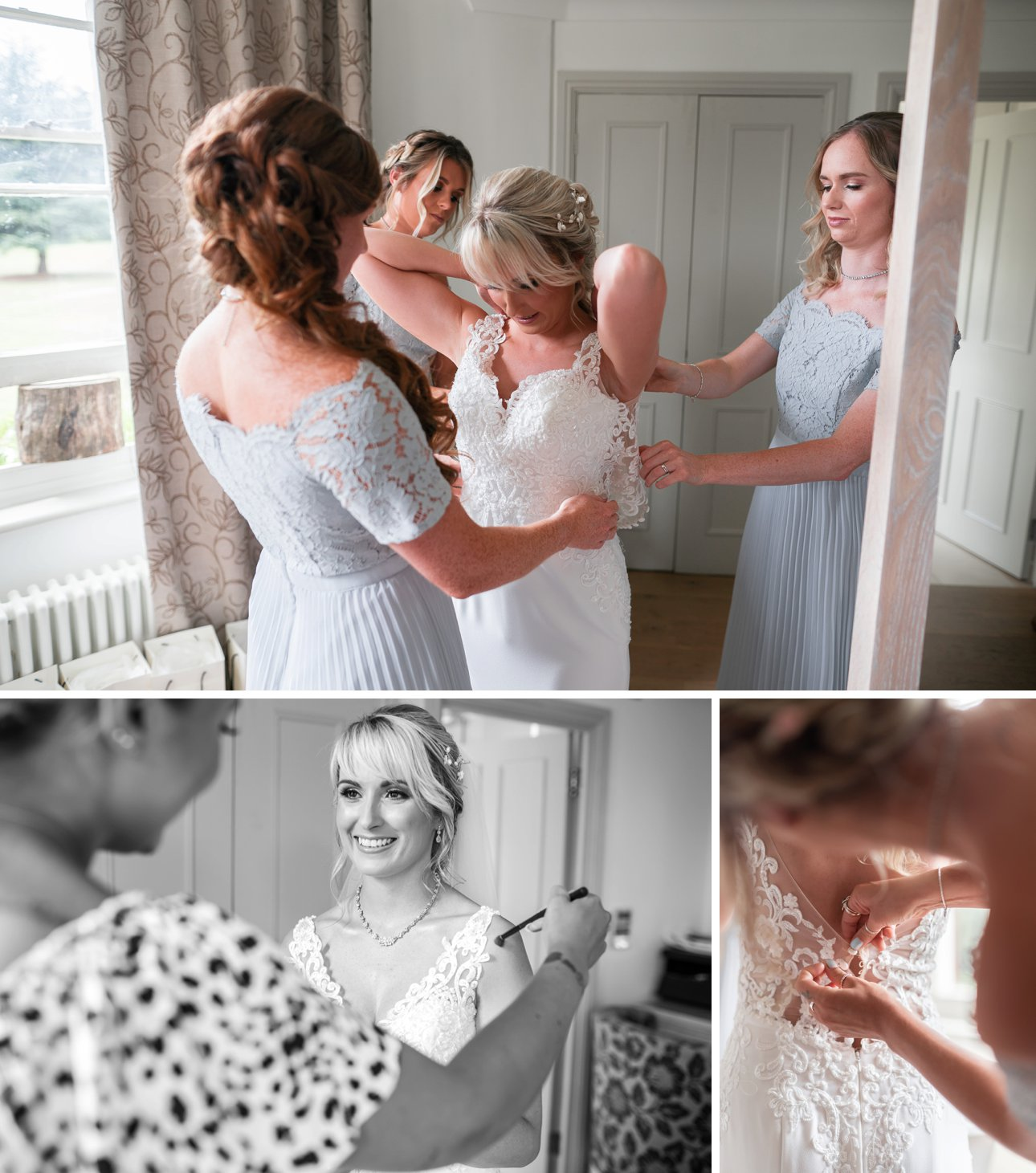 Bride Laura gets into her Wed2B white lace wedding gown at Stoke Place Slough. Her bridesmaids are wearing blue, lace and pleated dresses.