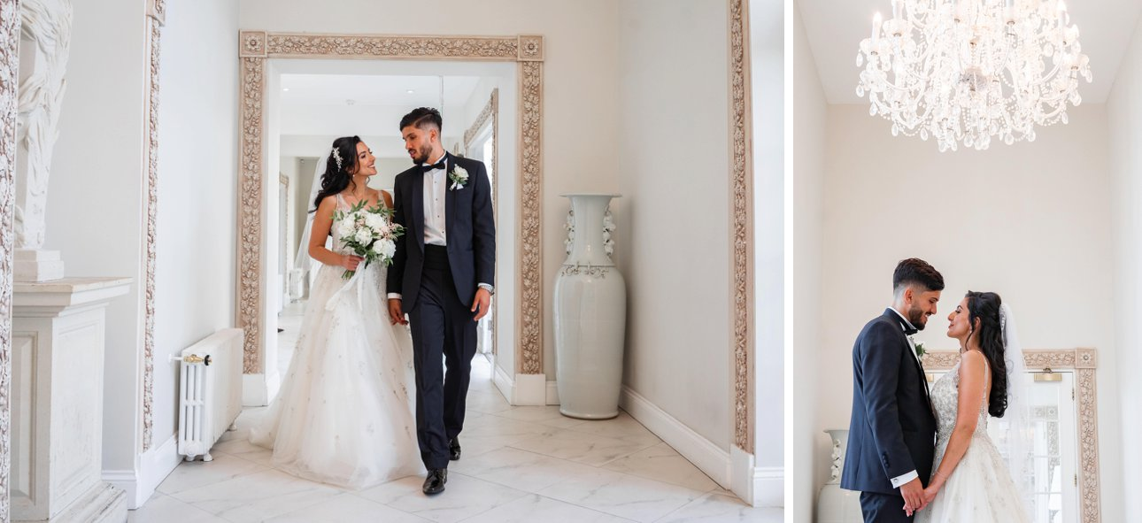 A bride and groom walk through Froyle House for their wedding portraits.