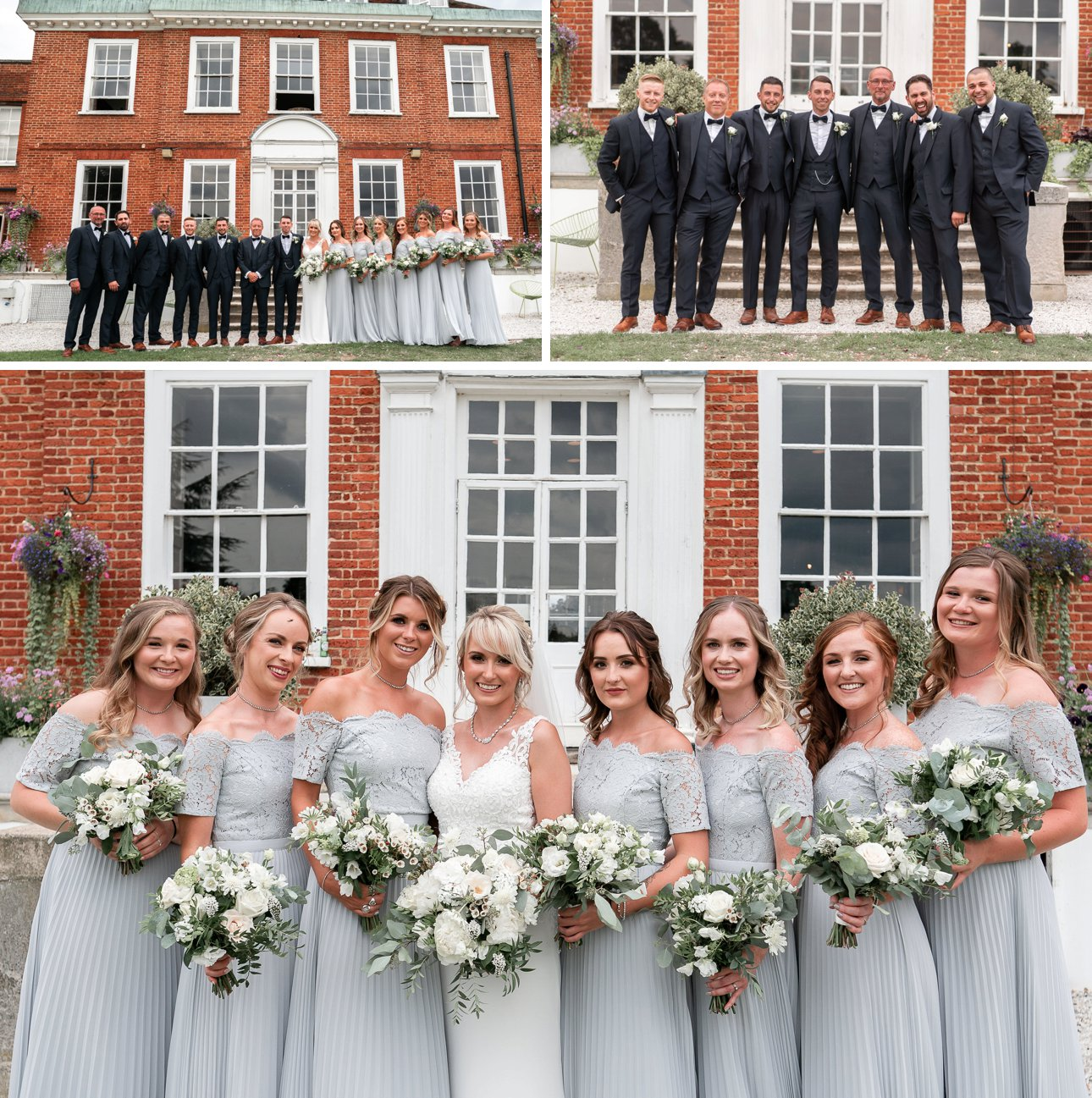 Bridesmaids in blue pleated dresses and groomsmen in bow ties pose for group wedding photos at Stoke Place Slough.