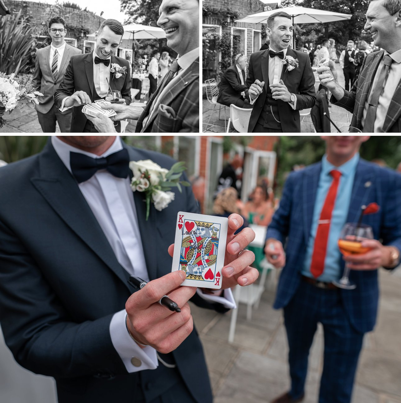 A magician amazes the groom with his sleight of hand at Stoke Place Slough.