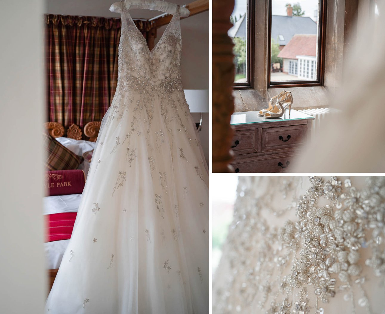 A white Maggie Sottero Designs bridal dress hangs in a bedroom at Froyle Park Country Estate and a pair of Jimmy Choo shoes before a wedding.