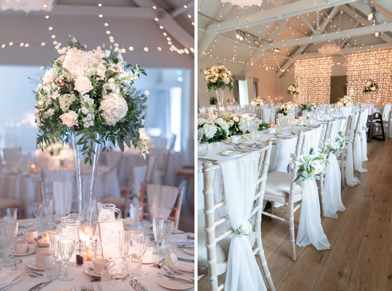 White summer floral arrangements by Buckinghamshire florist Rebecca Marsala at Stoke Place Slough.