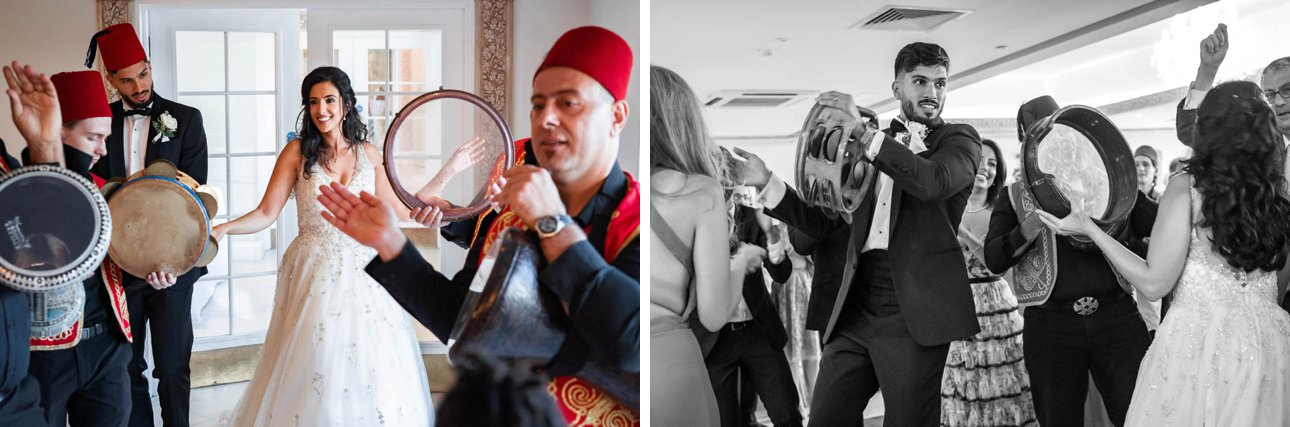 Traditional dancing with fez-wearing folk musicians at a wedding reception at Froyle Park.