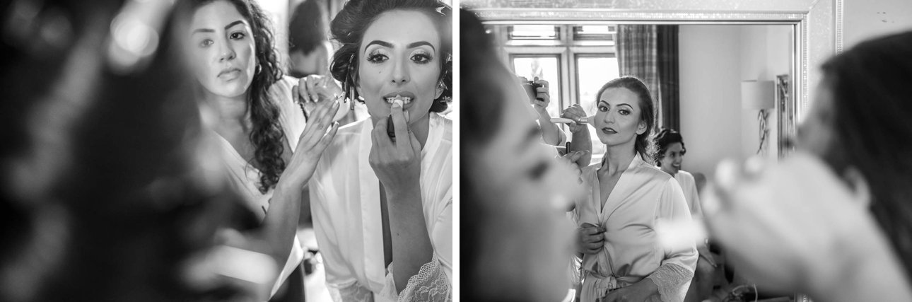 Black and white photos of a bride and her bridesmaids getting ready at Froyle Park Country Estate.