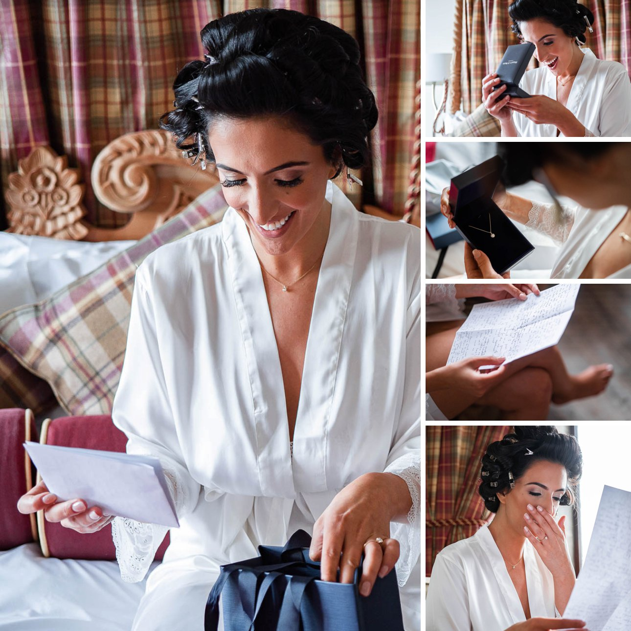 A bride opens a gift and letter from her fiance on her wedding morning.
