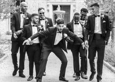 groom-usher-bestman-walking-at-froyle-park-avenue