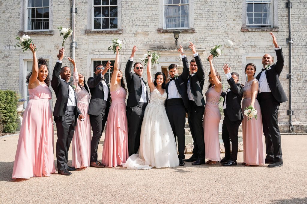 wedding-group-waving-hands- hampshire-wedding