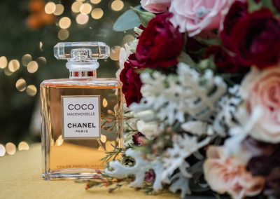 coco-perfume-bottle-and-bridal-bouquet-by-barnabys-florists