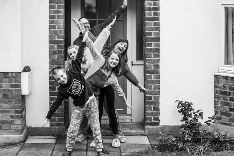 Fun family portrait black and white
