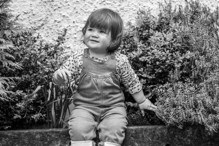 Little girl black and white photograph