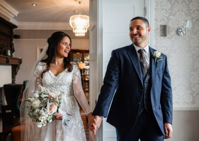 bride-and-groom-first-look-at-each-other-at-the-manor-elstree