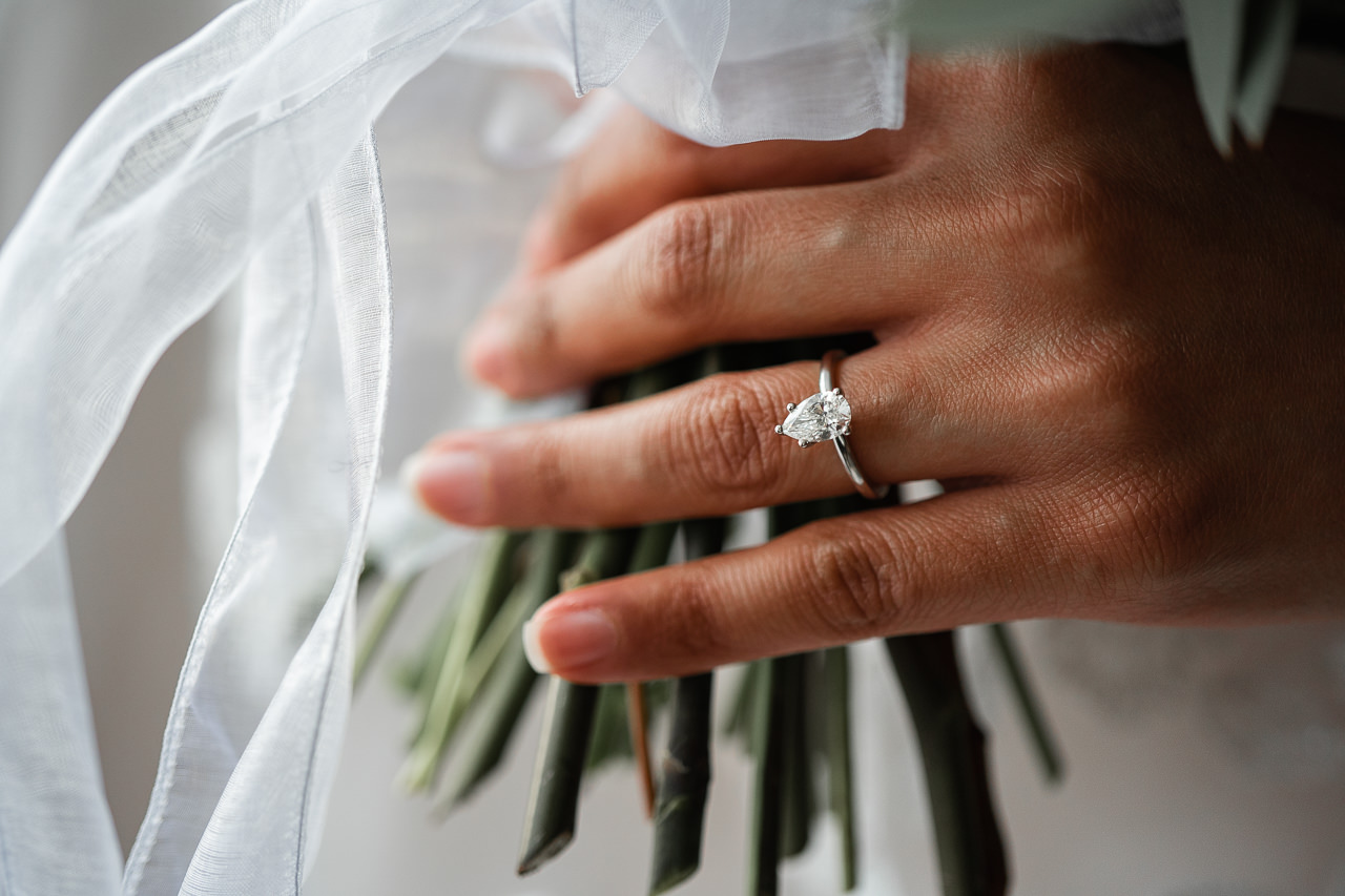 Engagement ring on bride