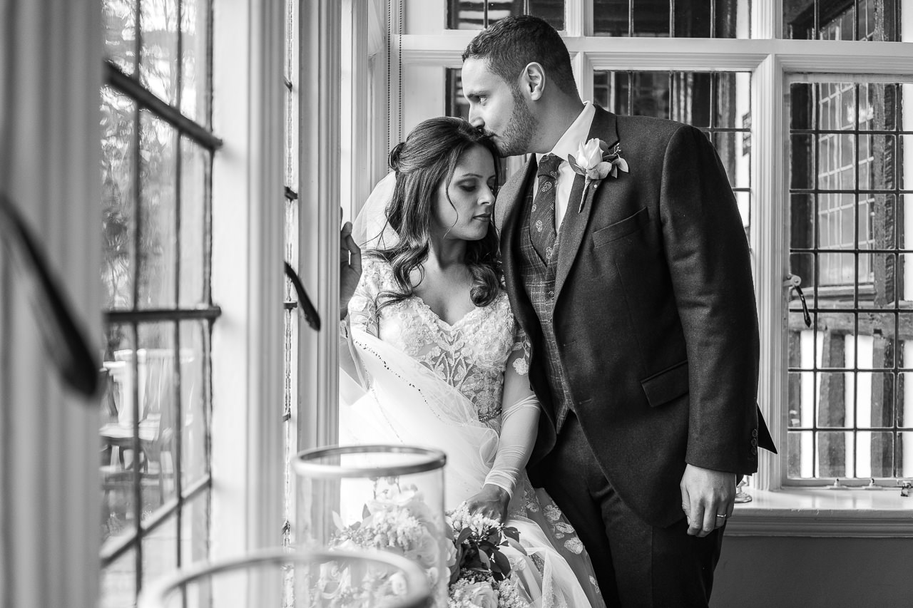 Gorgeous bride and groom portrait black and white