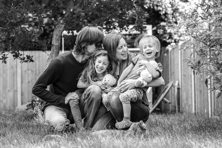 Family portrait in front garden