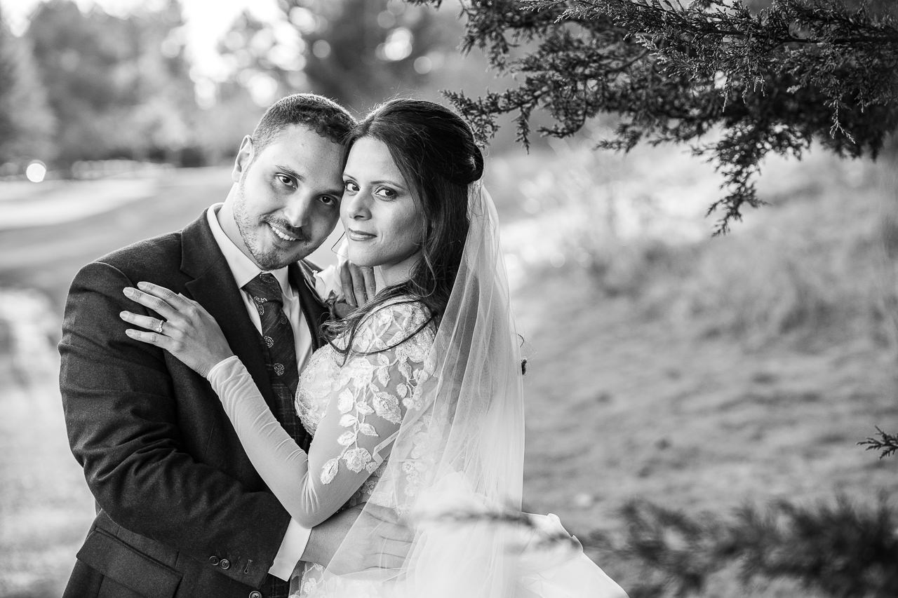 Stunning bride and groom portrait black and white