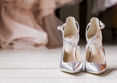 silver-high-heel-shoes-with-bridal-gown